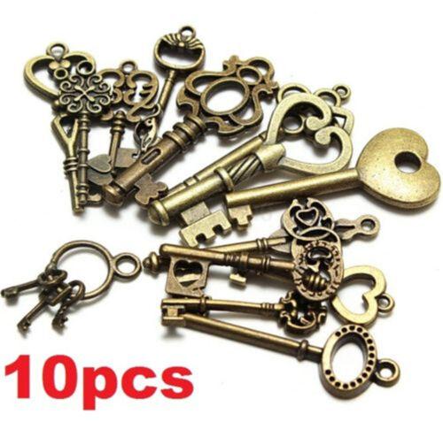 FD4040 Rétro Antique Vintage Keys Charms Décoration Collier Pendentifs Bijoux 10PCs\