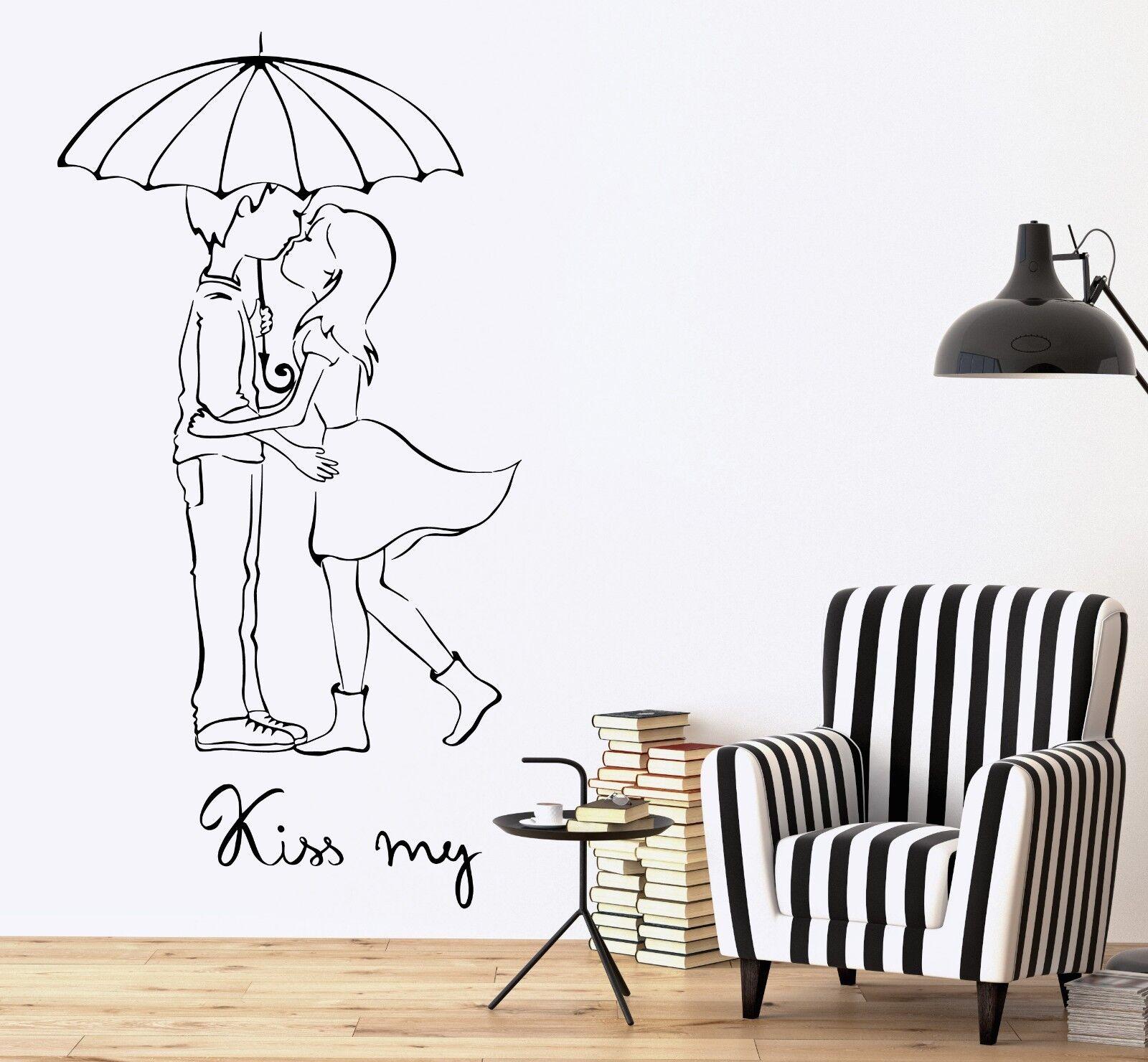 Wand Vinyl Decal Romantic Quotes Kiss Me Mädchen Boy Umbrella Amazing Decor z3698