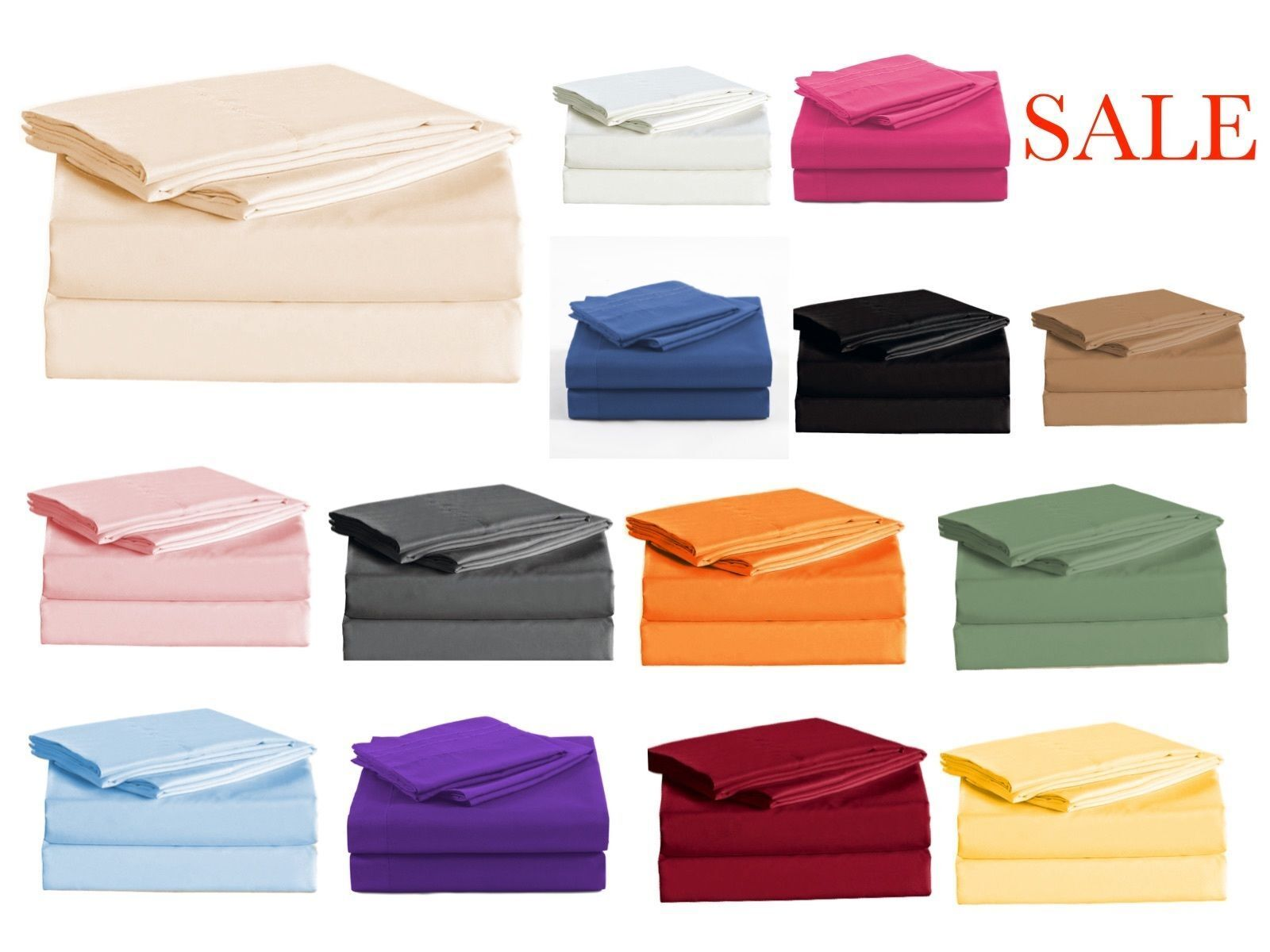 Sheet Set 4 Piece Solid All Farbes & Größes 1000 Thread count Egyptian Cotton