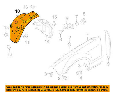 FORD OEM 10-14 Mustang-Front Fender Liner Right AR3Z16102A