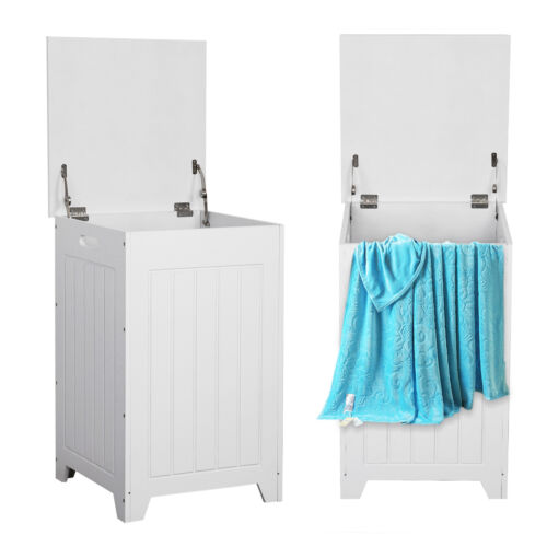 White Wooden Laundry Cabinet Storage Unit Chest Cupboard with Lid Laundry Basket