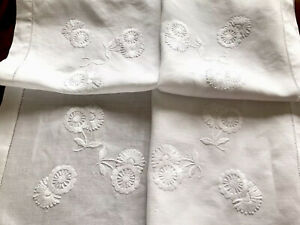 VINTAGE-HAND-EMBROIDERED-WHITE-LINEN-TABLECLOTH-36X36-Inches