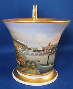 Antique-19thC-Nymphenburg-Porcelain-Scenic-Cup-Scene-Porzellan-Szenentasse