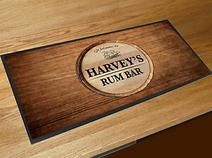 Personalised-Welcome-Rum-Bar-wood-effect-keg-label-bar-runner-mat