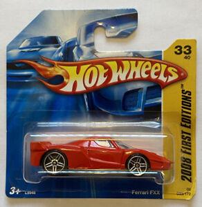 2008 HotWheels FERRARI FXX auto da corsa PRIME EDIZIONI RED CARD MOC Europeo corto!