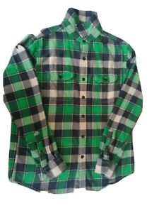 American-Eagle-Green-Plaid-Flannel-Cotton-Button-Up-Shirt-Men-039-s-M-Long-Sleeve