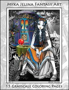 Myka Jelina Art Coloring Pages Bohemian Girls Gypsy Fairy Angels Grayscale Ebay