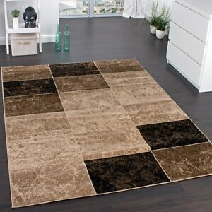 Brown-Check-Rug-Carpet-Short-Pile-Living-Room-Rug-Mat-Marble-Effect-Small-Large