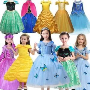 Kids Girls Belle Princess Dress Up Costume Fairytale Dress Up Cinderella Aurora