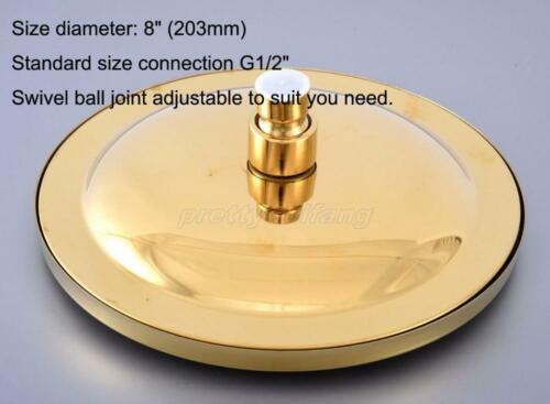 Polished Gold Btass Round 8 inch Rainfall Shower Head Bathroom Rain Showerhead