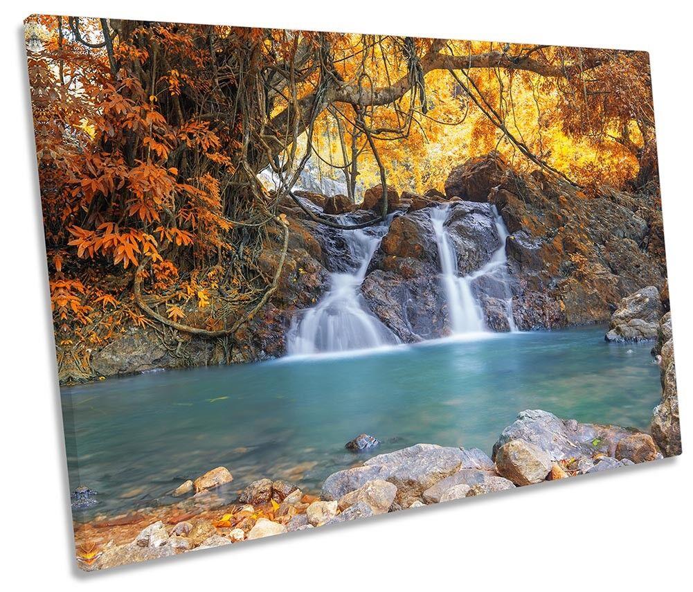 Gelb Waterfall Forest Bild SINGLE CANVAS Wand Kunst Drucken