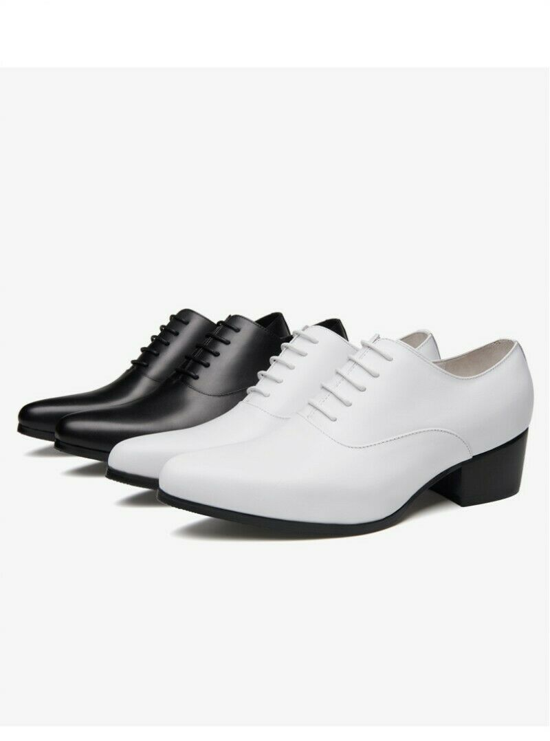 Mens Lace Up Slip On Oxfords Bloch Heels Leather Bussiness shoes Pointy Toe 2019