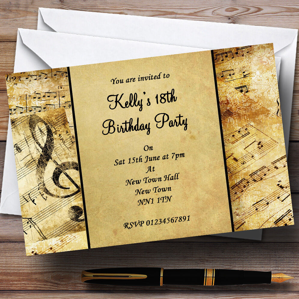 Musical Clefs Personalised Party Invitations