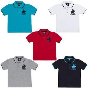 Ragazzi-Misto-Cotone-a-Maniche-Corte-Estate-Top-Polo-T-Shirt-Taglia-Eta-2-6
