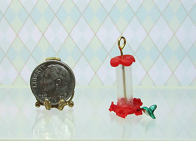 Dollhouse Miniature Hummingbird Feeder with Bird