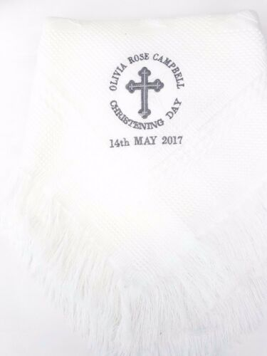 Baby shawl blanket wrap christening boy girl white baptism SUPER SOFT baptism