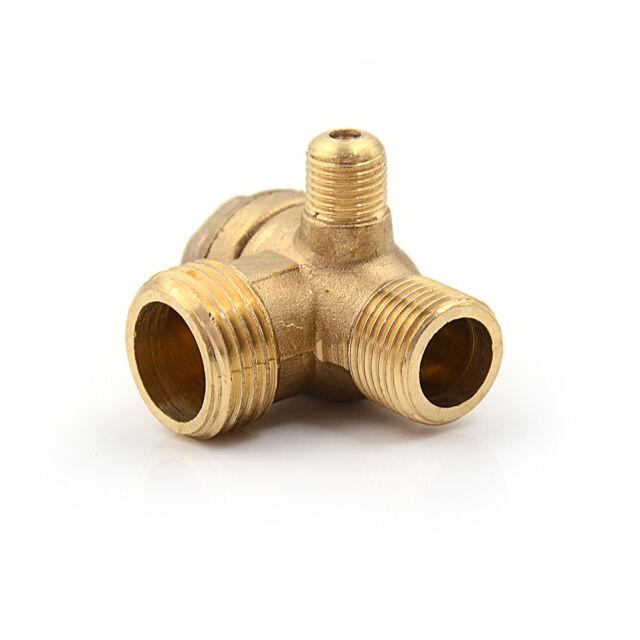 Golden Male 3 Way Brass Thread Air Compressor Check Valve Connector Tool SL