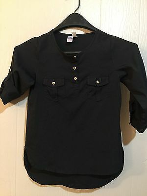 Top Girls Size 10 Japna Kids Black 3/4 Sleeve & Tab Pullover with 3 Gold Buttons