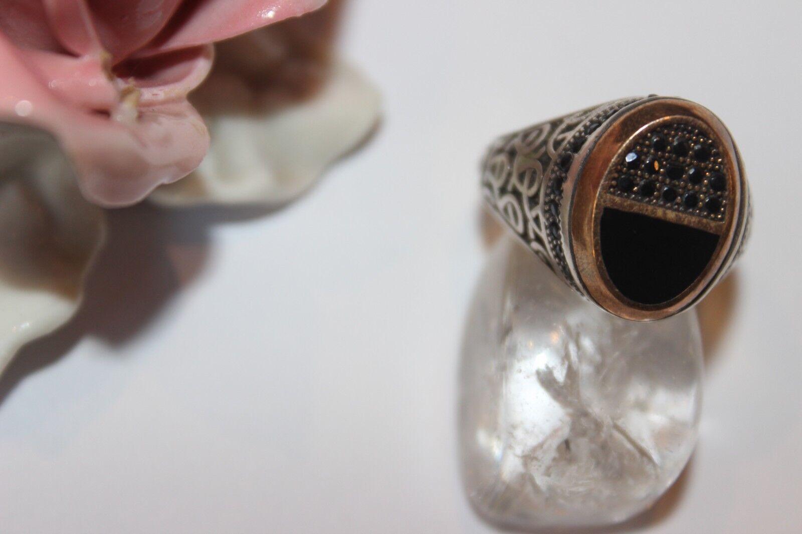 silverring Männerring Ring Sterlingsilver 925 Handarbeit Onyx Zirkonia