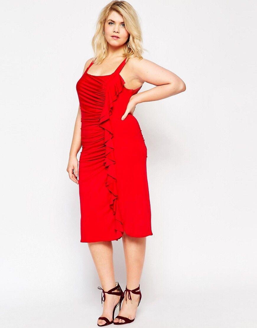 Gemma Collins red ruffle BODYCON dress BNWT red