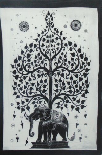 Tree On Elephant Boho Wall Hanging Decoration Indian Printed Tapestry Throw Art