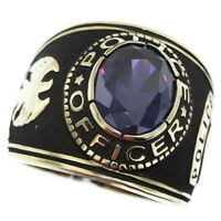 Purple Amethyst Stone Police Officer Gold Ep Mens Ring