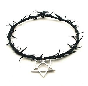 Heartagram gothic him metal pewter pendant leather necklace choker la imagen se est cargando de messi gotico el metal peltre colgante de aloadofball Choice Image