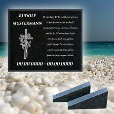 NEU Granit Grabstein mit Stützen 30x20cm und Motivauswahl Grabplatte MM22
