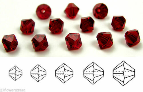 Czech MC Glass Bicone Beads Siam dark red color crystals Rondell//Diamond