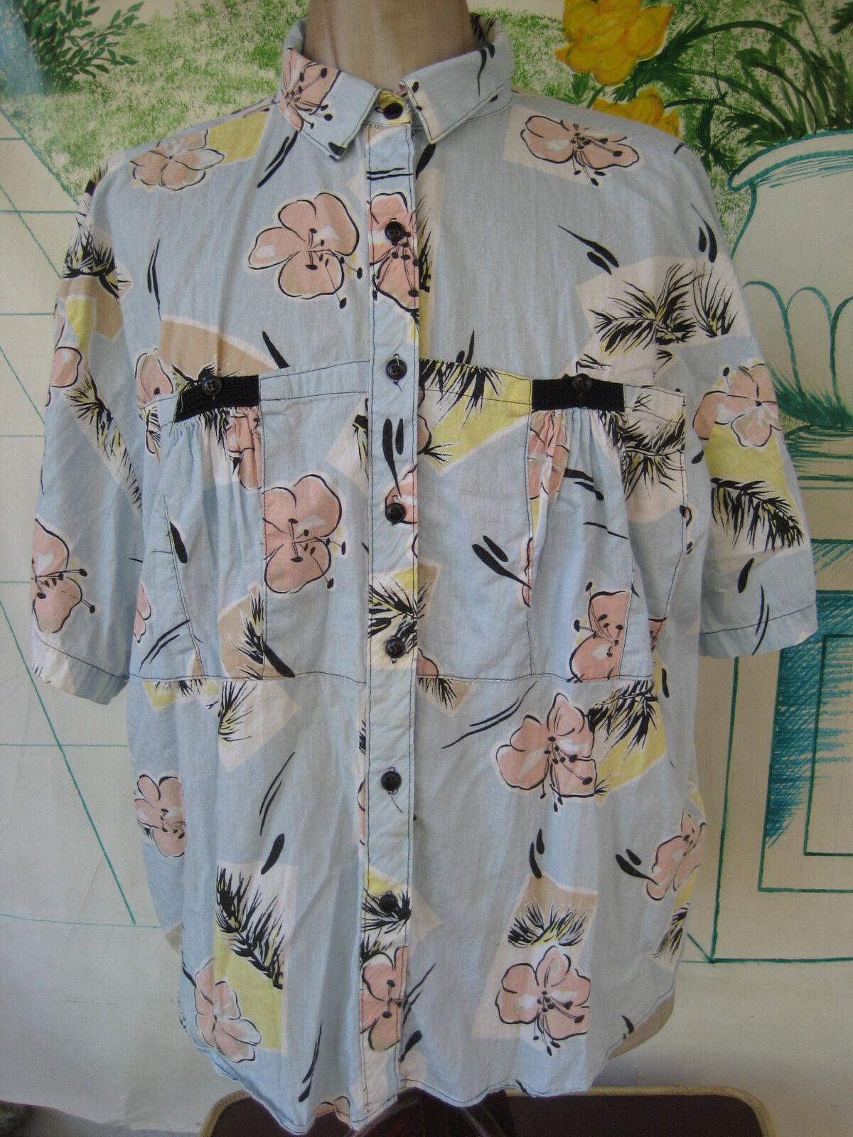 Vtg blouse Hawaiian look hibiscus fern print short sleeve pastel Lady Oak Hill