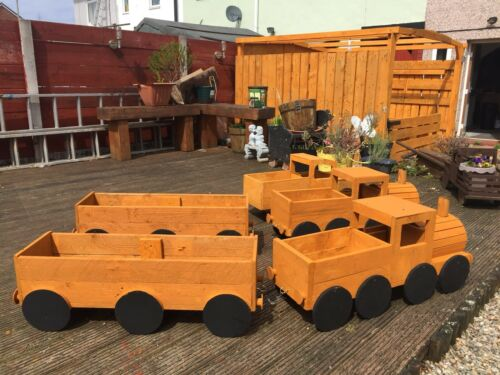 """Handmade Wooden Train Planter 30""""16""""9""""/& 2 x Carriages,Well Built *To Order Only*"""