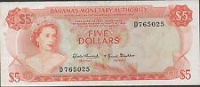 Bahamas , $5 , ND. act. of 1968 , P 29a , Prefix D  Circulated Banknote