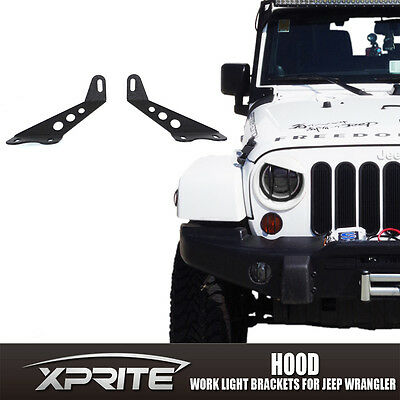 "Pair 20"" LED Light bar Metal Hood Mounting Bracket For 07-17 Jeep JK Wrangler"