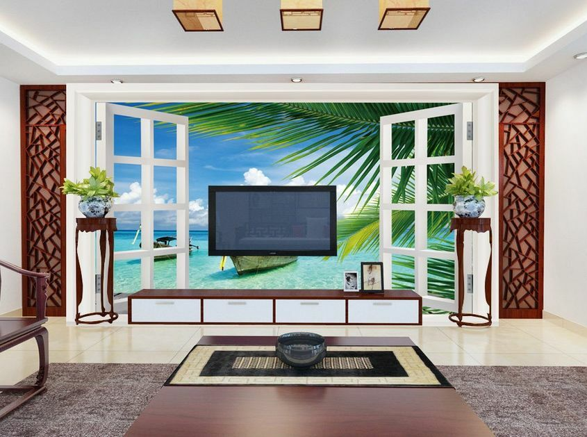 3D Mega Window Sea Scenery884 Wall Paper Wall Print Decal Wall AJ Wall Paper