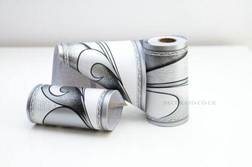 Slim ART DECO ARGENT BORDER Fablon Papier Peint Auto Adhésif Collant Dos paillettes