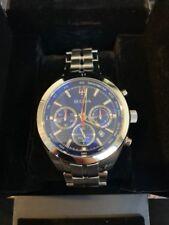 d583d2c28 Bulova 96B285 Men's Blue Dial Silver-Tone Quartz Chronograph Watch- DISPLAY