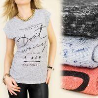 Motiv Damenmode 100% Baumwolle Damen Shirts Meliert Modische Farben Gr. S-m-l