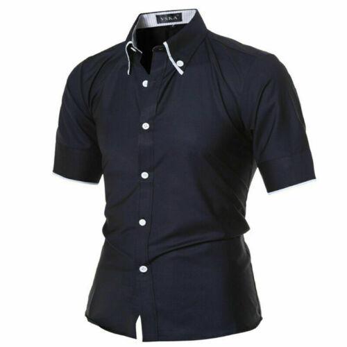 Homme Fashion Luxury Casual Slim Fit robe chemises élégant à manches courtes T-shirts