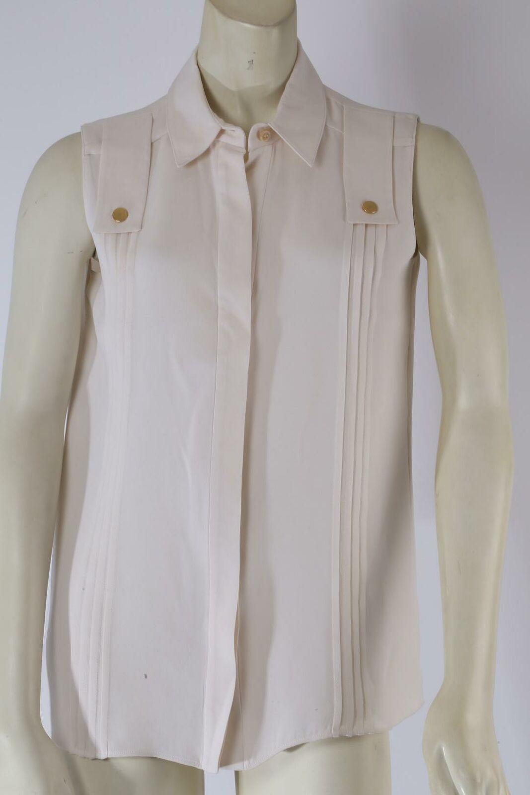 DEREK LAM Ivory Sleeveless Collared Silk Pleated … - image 3