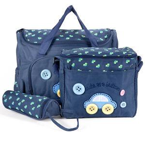 4-tlg-Baby-Wickeltasche-Pflegetasche-Kindertasche-Babytasche-Dunkelblau