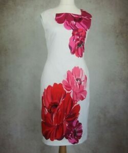 Phase-Eight-Size-UK-12-White-Red-Floral-Design-Dress-Sleeveless-Lined-Wedding