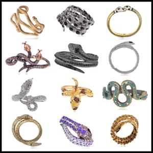 Vintage Copper Purple Crystal Rhines Twin Serpents Snake Cuff Bracelet Bangle