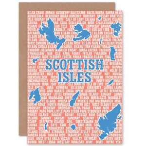 Map-Scotland-Scottish-Islands-Isles-Names-Blank-Greeting-Card-With-Envelope
