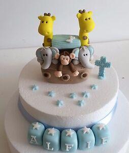 Edible Noahs Ark Boy Girl Elephant Giraffe Monkey Cake Topper Decoration Name