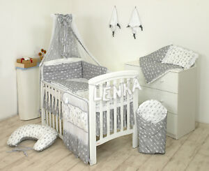 5 Pcs Cot Bed Bedding Set 140x70 cm Owls Grey Check Design