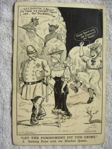 1908 POLICE, DEVILS, WOMEN,GETTING EVEN, COMIC POSTCARD