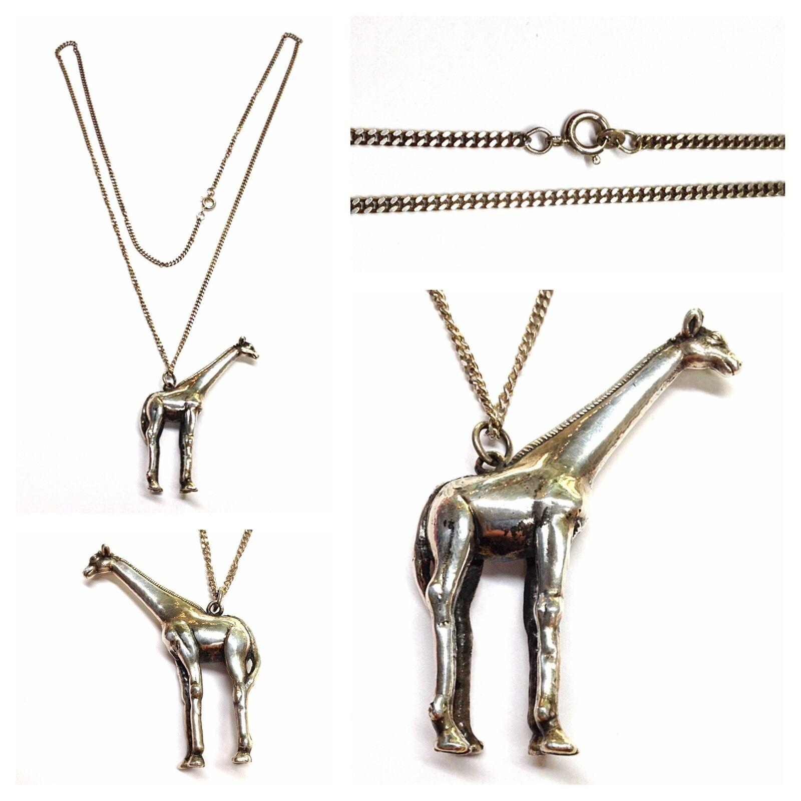 Lange silverkette 925er silver mit Anhänger Giraffe Kette Panzerkette 70 cm