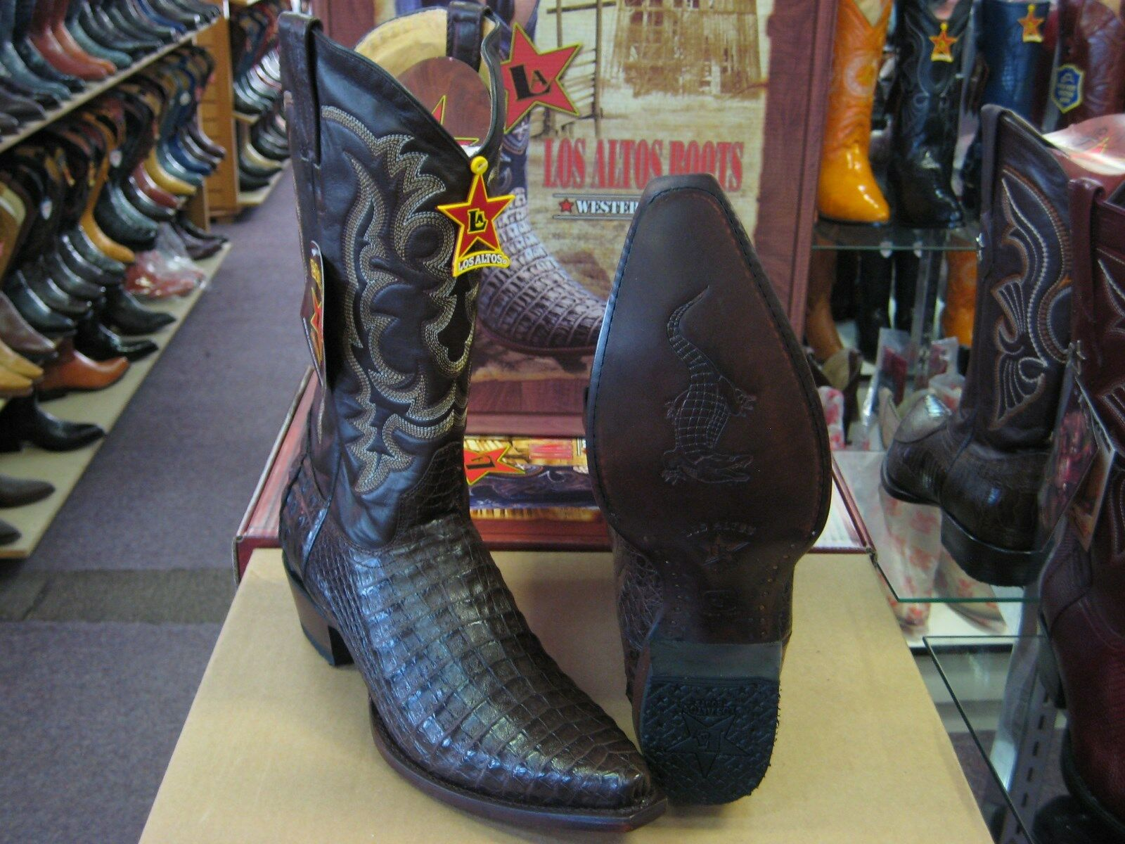 LOS ALTOS BROWN GENUINE SNIP TOE CROCODILE WESTERN COWBOY BOOT (D) 91D1977