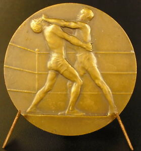 Medaille-Boxe-Boxing-sc-Henry-Dropsy-sport-fight-ring-combat-c-1930-medal