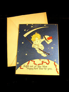 """VINTAGE 1920-30""""S GREETING CARD HAPPY NEW YEAR BLUE RUST ..."""